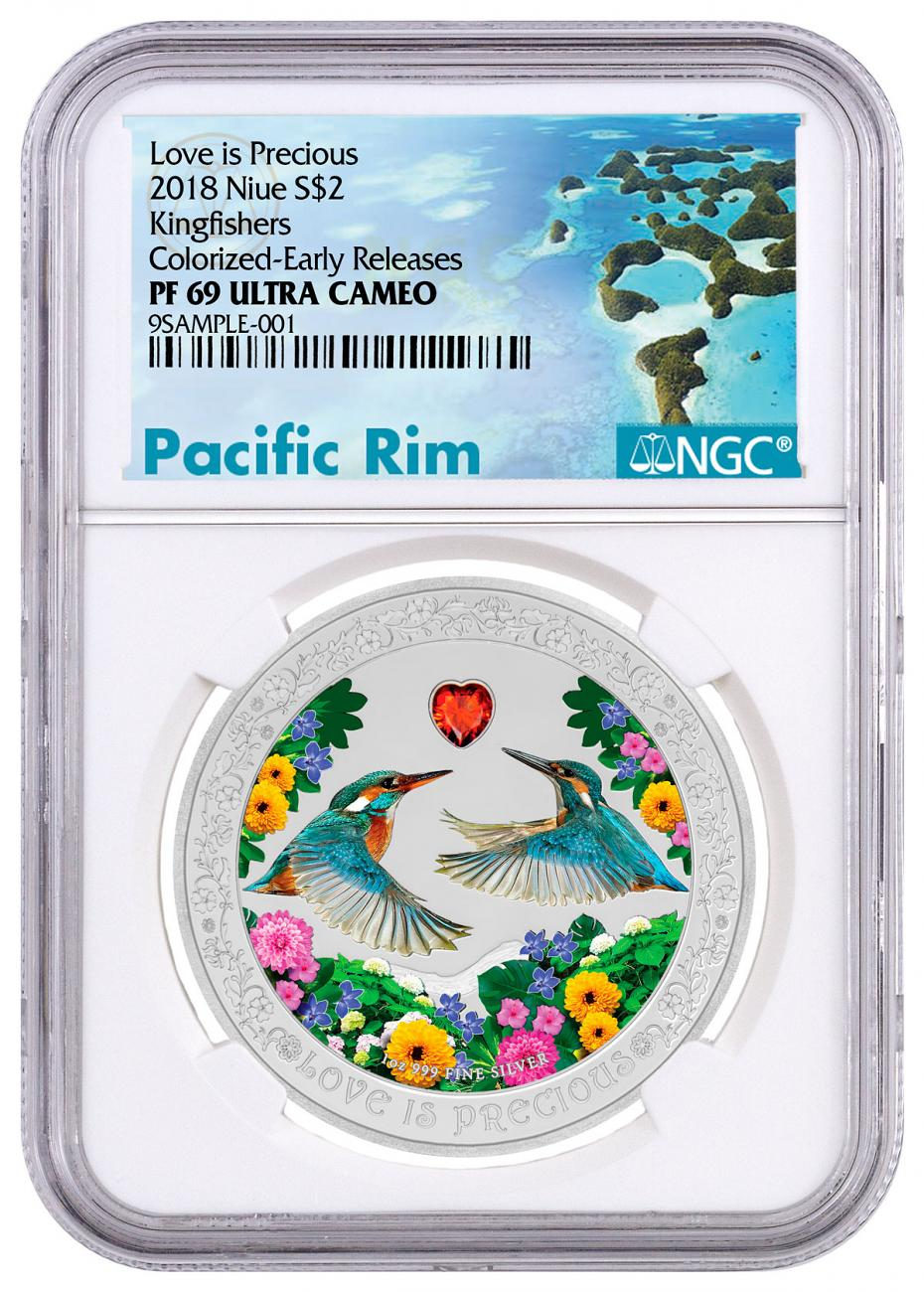2018 Niue Love is Precious - Kingfishers 1 oz Silver Colorized Proof $2 Coin NGC PF69 UC ER Exclusive Pacific Rim Label