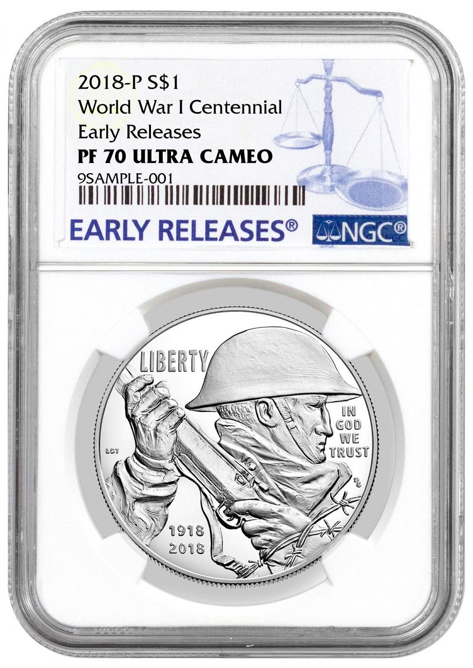 2018-P World War I Centennial Commemorative Silver Dollar Proof Coin NGC PF70 UC ER