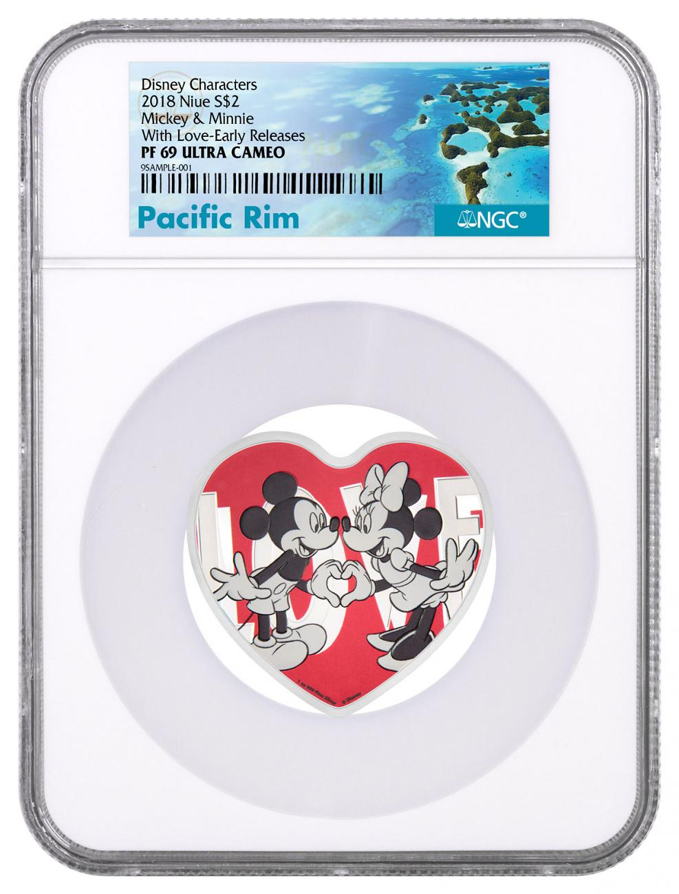 2018 Niue Disney Love Heart Shaped 1 oz Silver Proof $2 Coin NGC PF69 UC Exclusive Pacific Rim Label