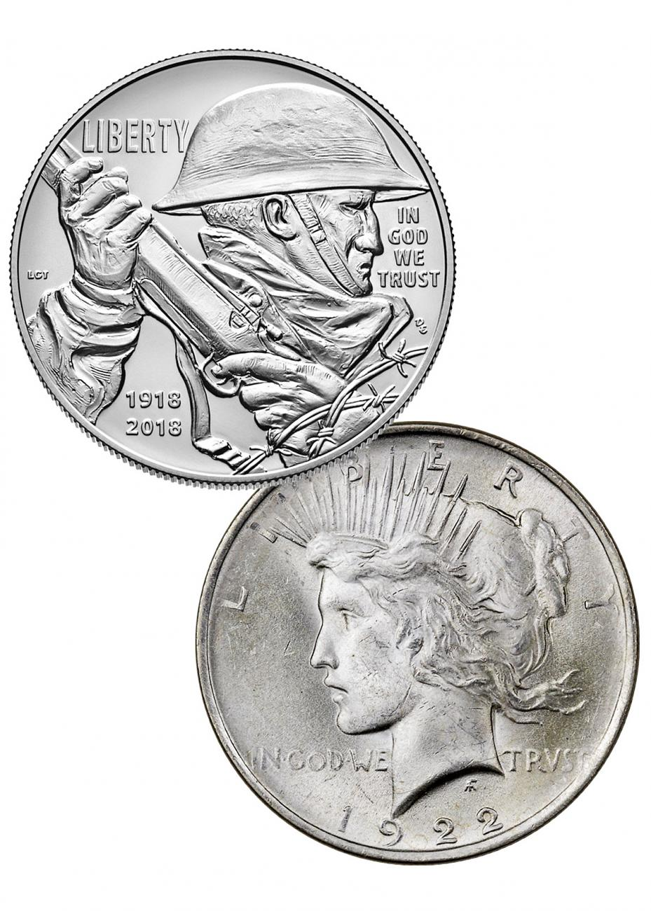 2-Coin Set - 2018-P World War I Centennial Commemorative Silver Dollar Coin + 1922 Silver Peace Dollar Coin GEM BU