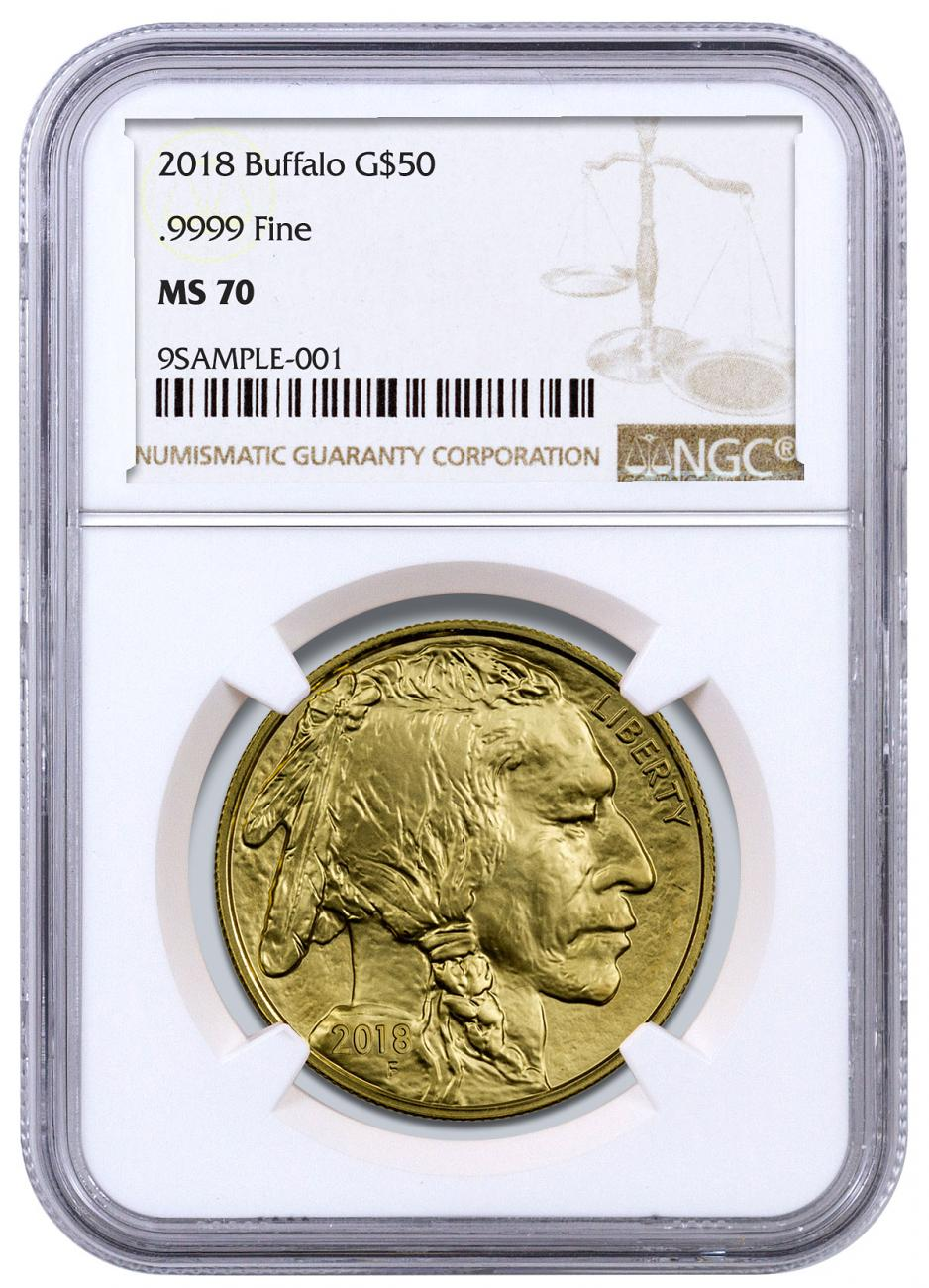 2018 1 oz Gold Buffalo $50 Coin NGC MS70