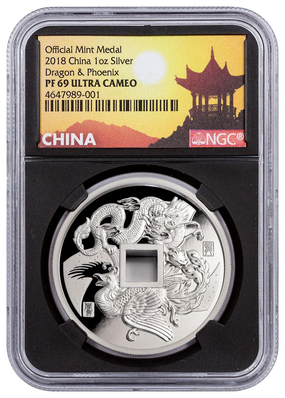 2018 China Dragon & Phoenix 1 oz Silver Proof Medal NGC PF69 UC Black Core Holder Exclusive Pagoda Label
