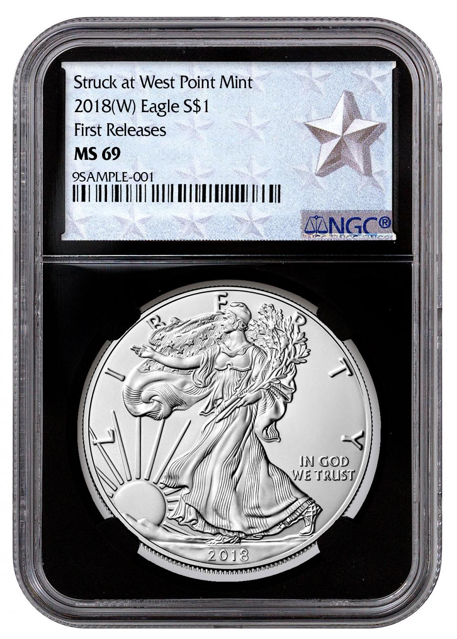2018-(W) American Silver Eagle Struck at West Point NGC MS69 FR Black Core Holder West Point Silver Star Label