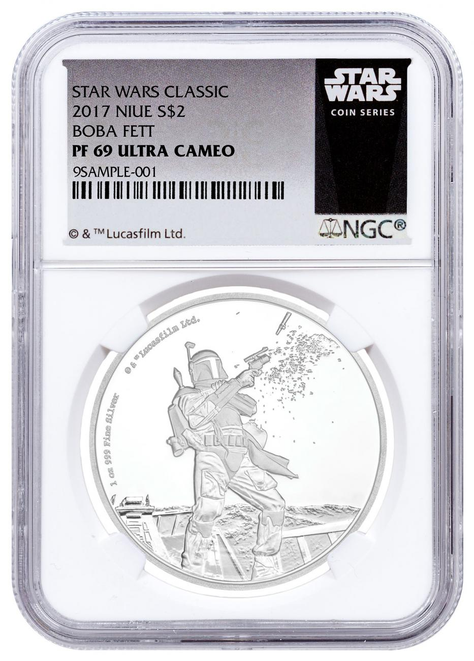 2017 Niue Star Wars Classic - Boba Fett 1 oz Silver Proof $2 Coin NGC PF69 UC Exclusive Star Wars Label