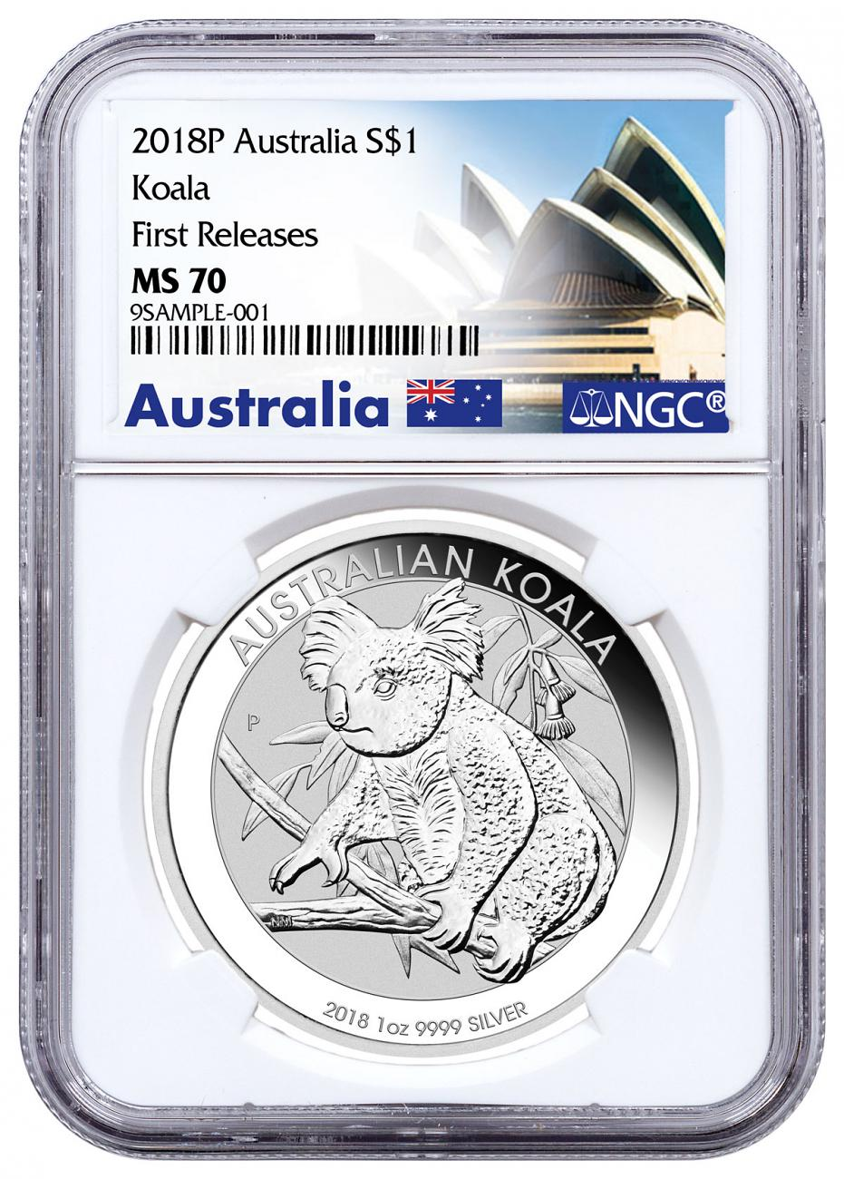 2018-P Australia 1 oz Silver Koala $1 Coin NGC MS70 FR Exclusive Australia Label