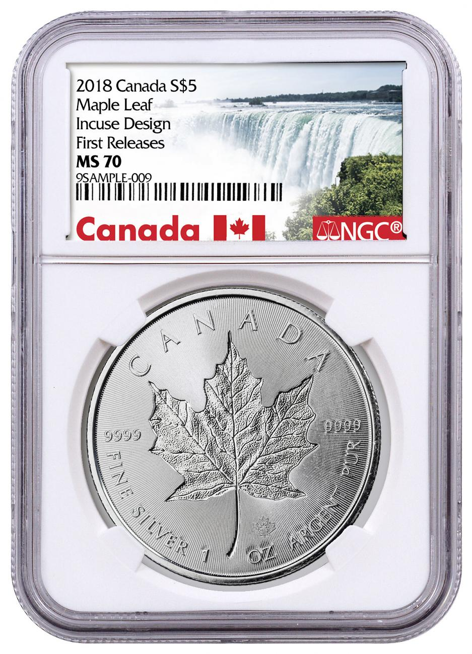 2018 Canada 1 oz Silver Maple Leaf - Incuse $5 Coin NGC MS70 FR Exclusive Canada Label