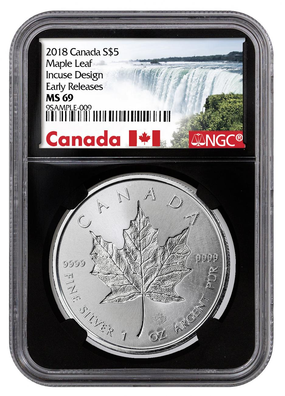 2018 Canada 1 oz Silver Maple Leaf - Incuse $5 Coin NGC MS69 ER Black Core Holder Exclusive Canada Label