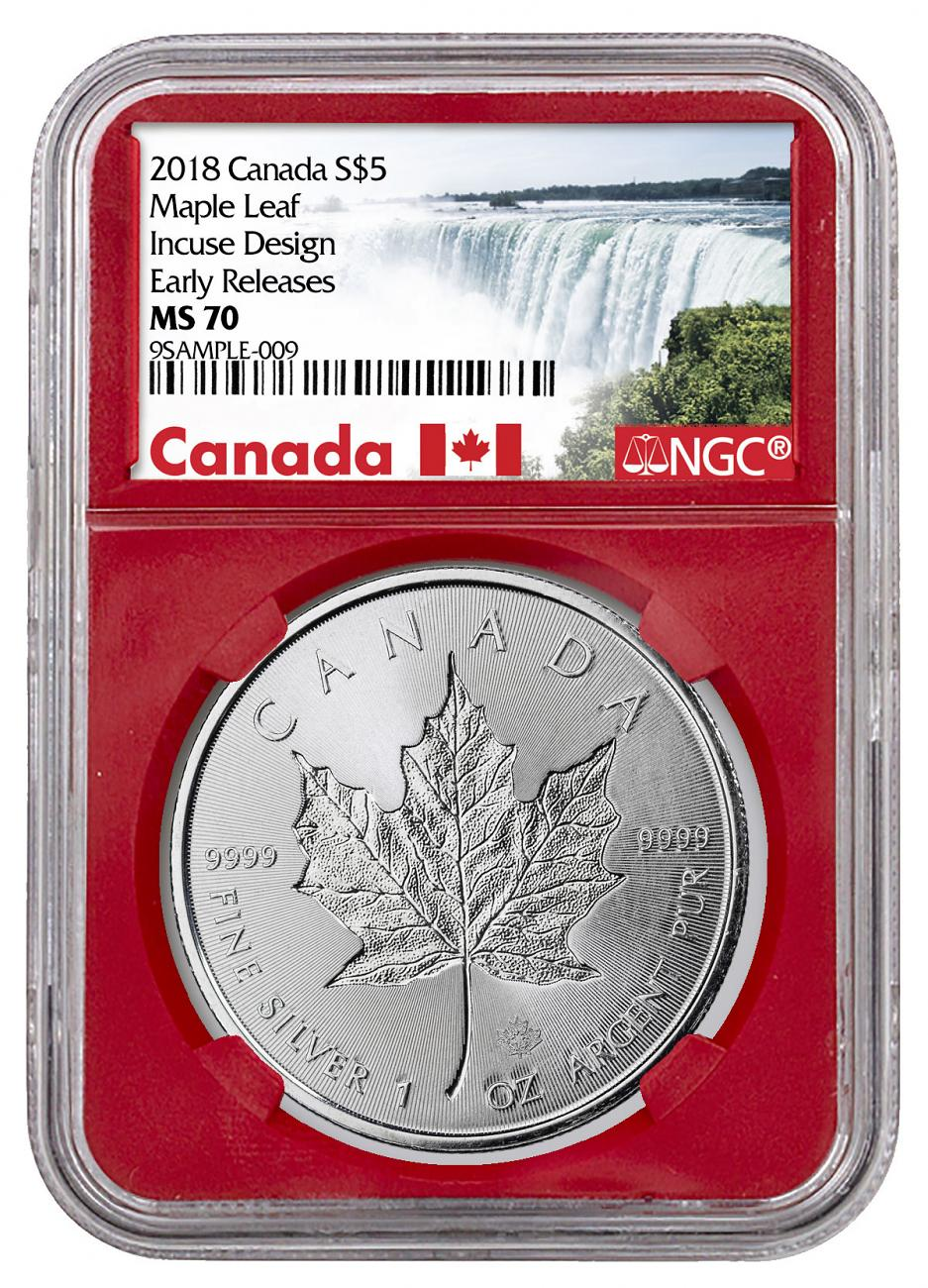 2018 Canada 1 oz Silver Maple Leaf - Incuse $5 Coin NGC MS70 ER Red Core Holder Exclusive Canada Label