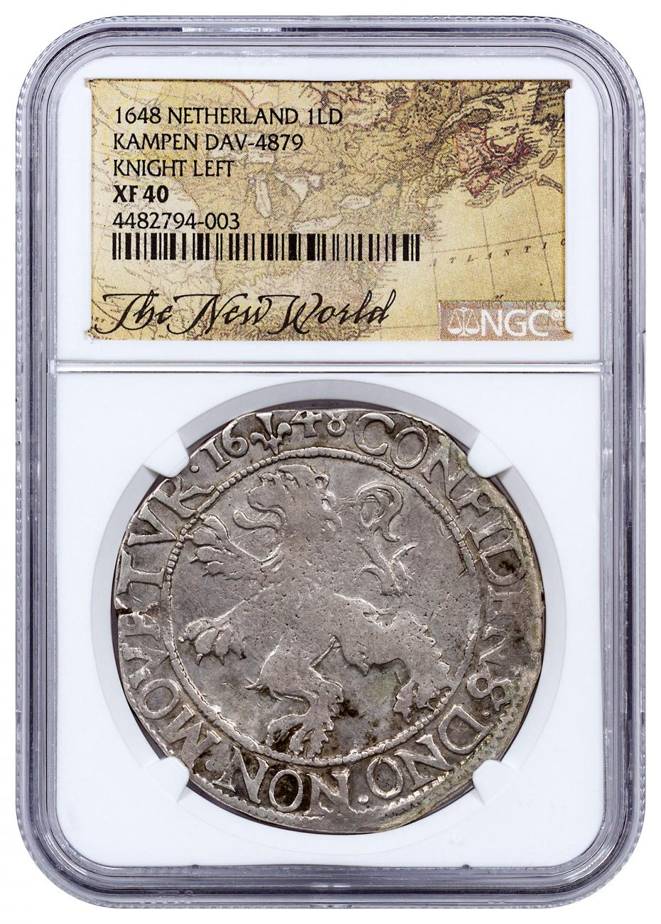 1648 Netherlands Silver 1 New York Lion Dollar NGC XF40 Exclusive New World Label