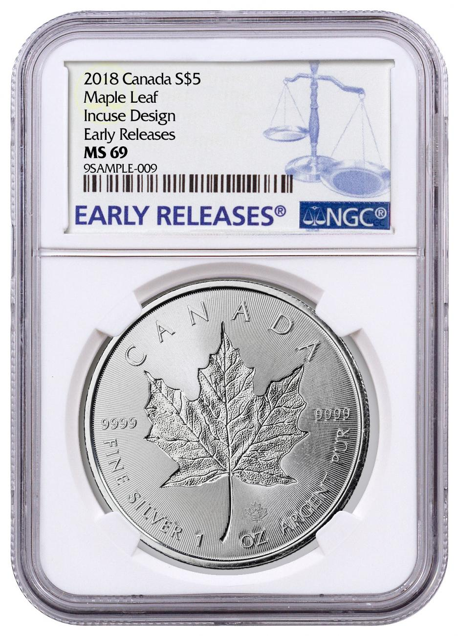 2018 Canada 1 oz Silver Maple Leaf - Incuse $5 Coin NGC MS69 ER