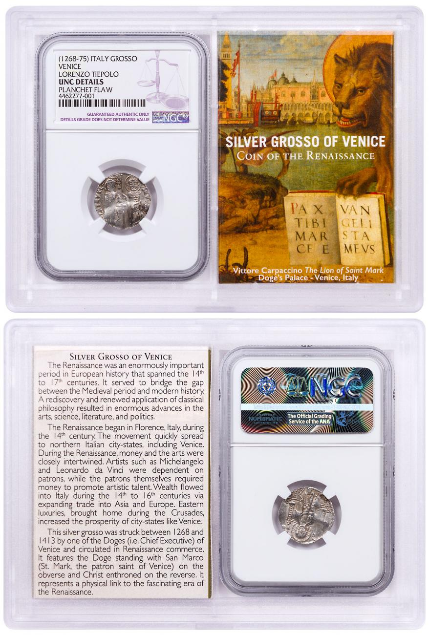 1268-1413 Italy Silver Grosso Venice-Renaissance NGC UNC Story Vault