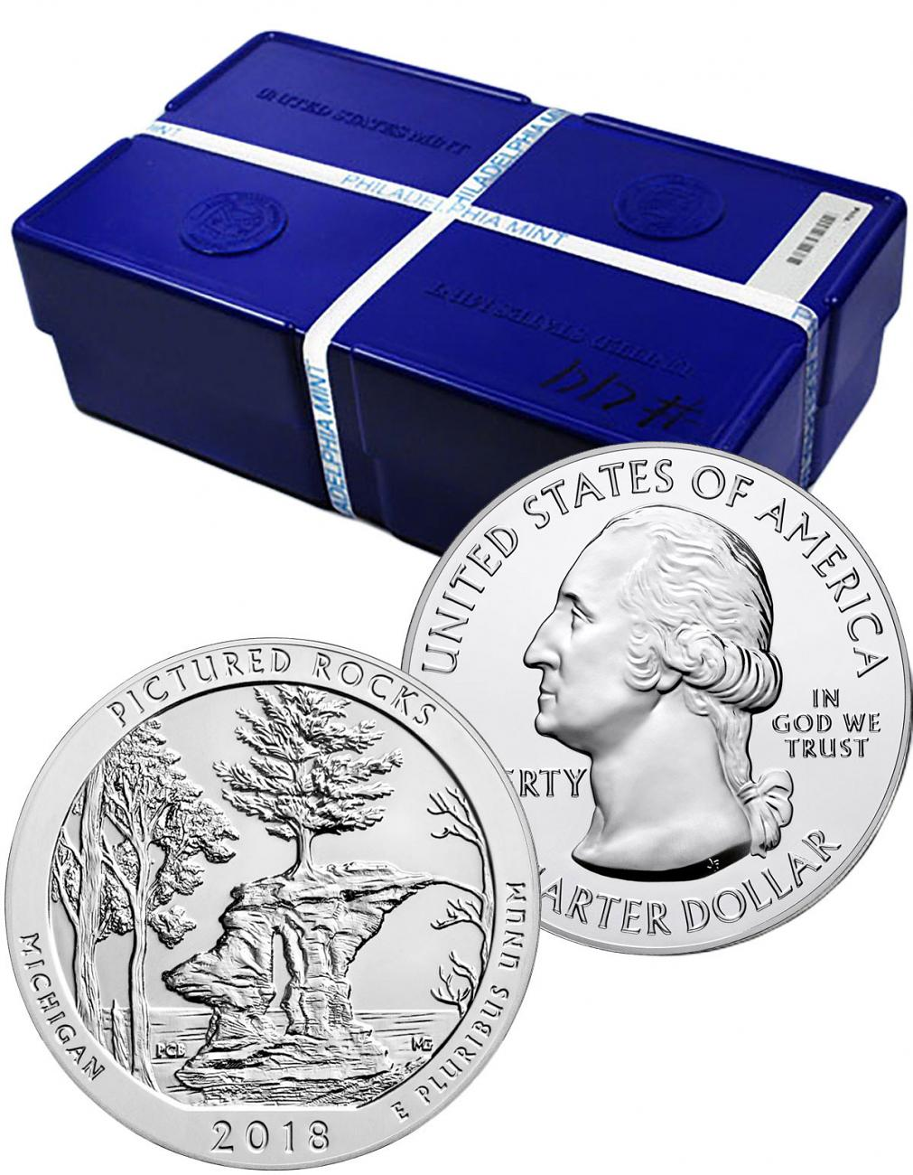 Monster Box of 100 - 2018 Pictured Rocks 5 oz. Silver America the Beautiful Coins GEM BU