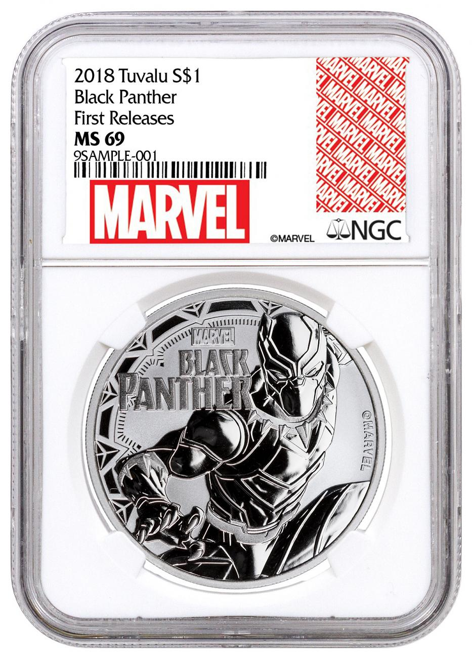2018 Tuvalu Black Panther 1 oz Silver Marvel Series $1 Coin NGC MS69 FR Exclusive Marvel Label