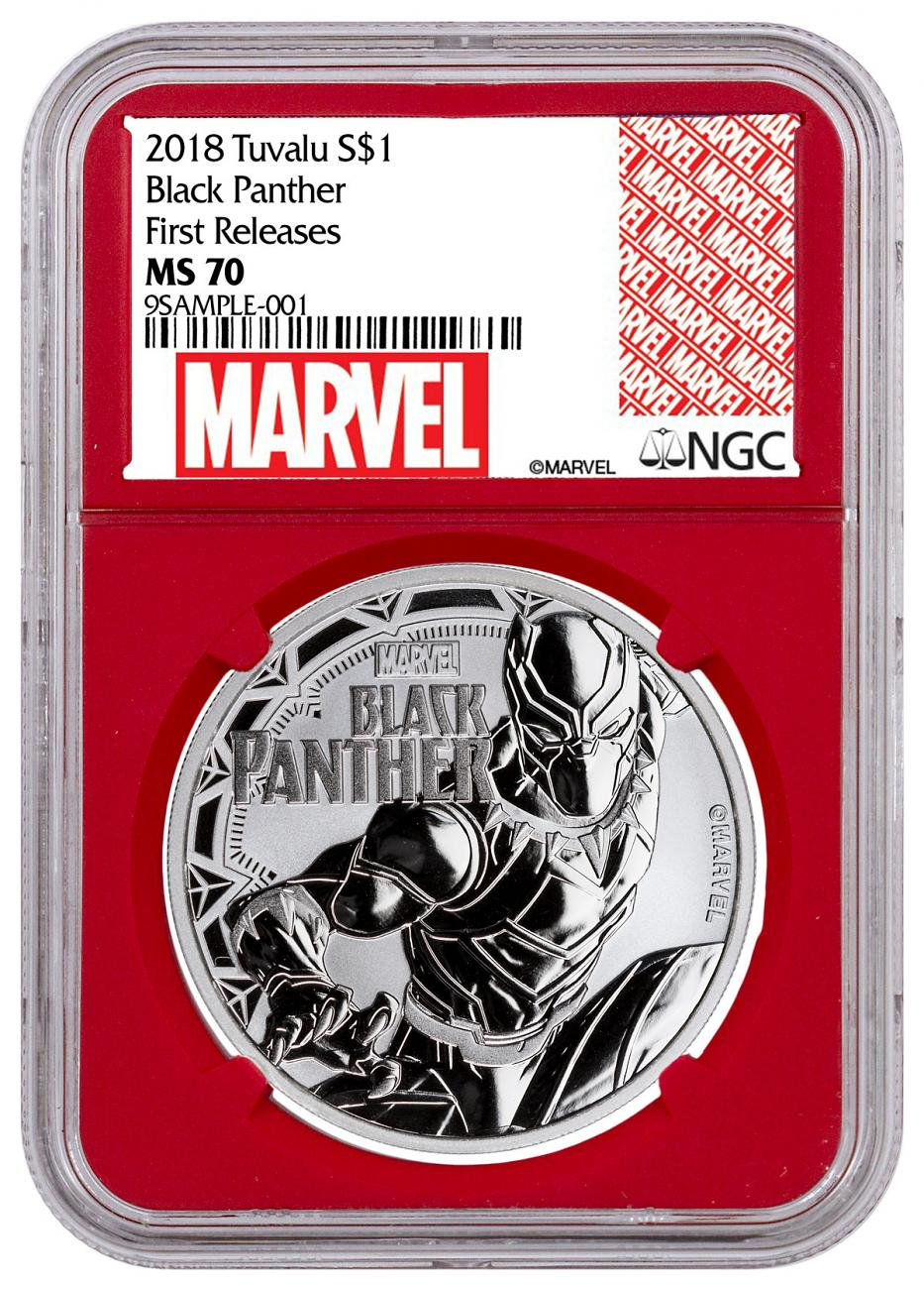2018 Tuvalu Black Panther 1 oz Silver Marvel Series $1 Coin NGC MS70 FR Red Core Holder Exclusive Marvel Label