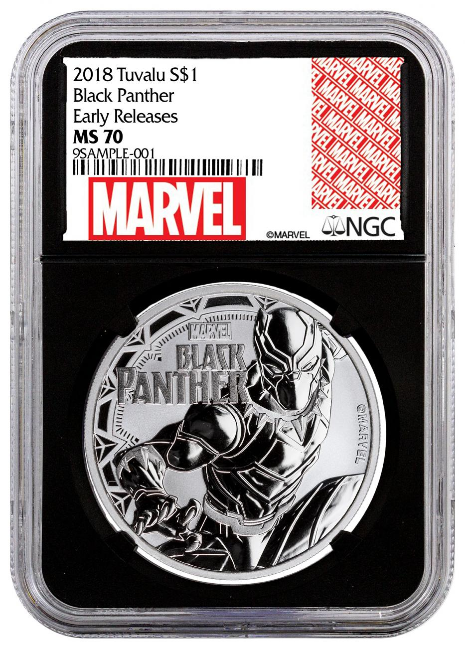 2018 Tuvalu Black Panther 1 oz Silver Marvel Series $1 Coin NGC MS70 ER Black Core Holder Exclusive Marvel Label