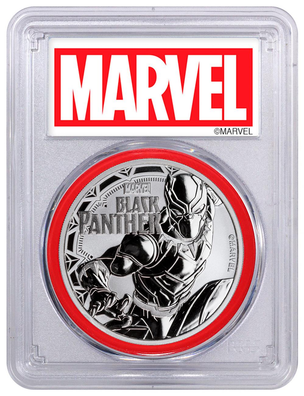 2018 Tuvalu Black Panther 1 oz Silver Marvel Series $1 Coin PCGS MS69 Red Gasket Exclusive Marvel Label