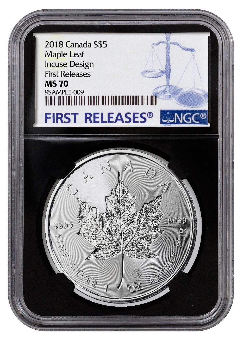 2018 Canada 1 Oz Silver Maple Leaf Incuse 5 Coin Ngc