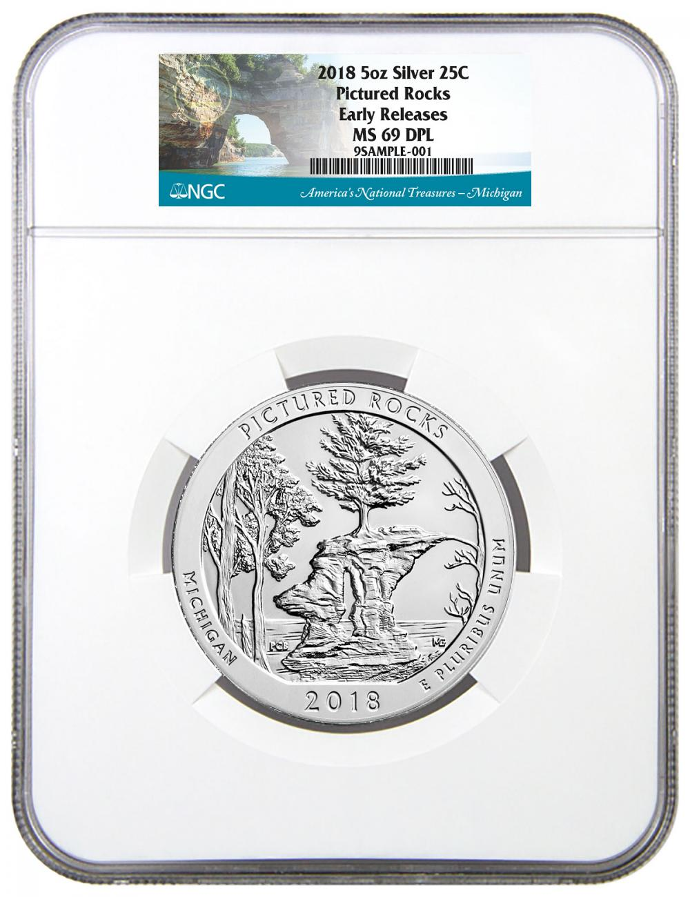 2018 Pictured Rocks 5 oz. Silver America the Beautiful Coin NGC MS69 DPL ER