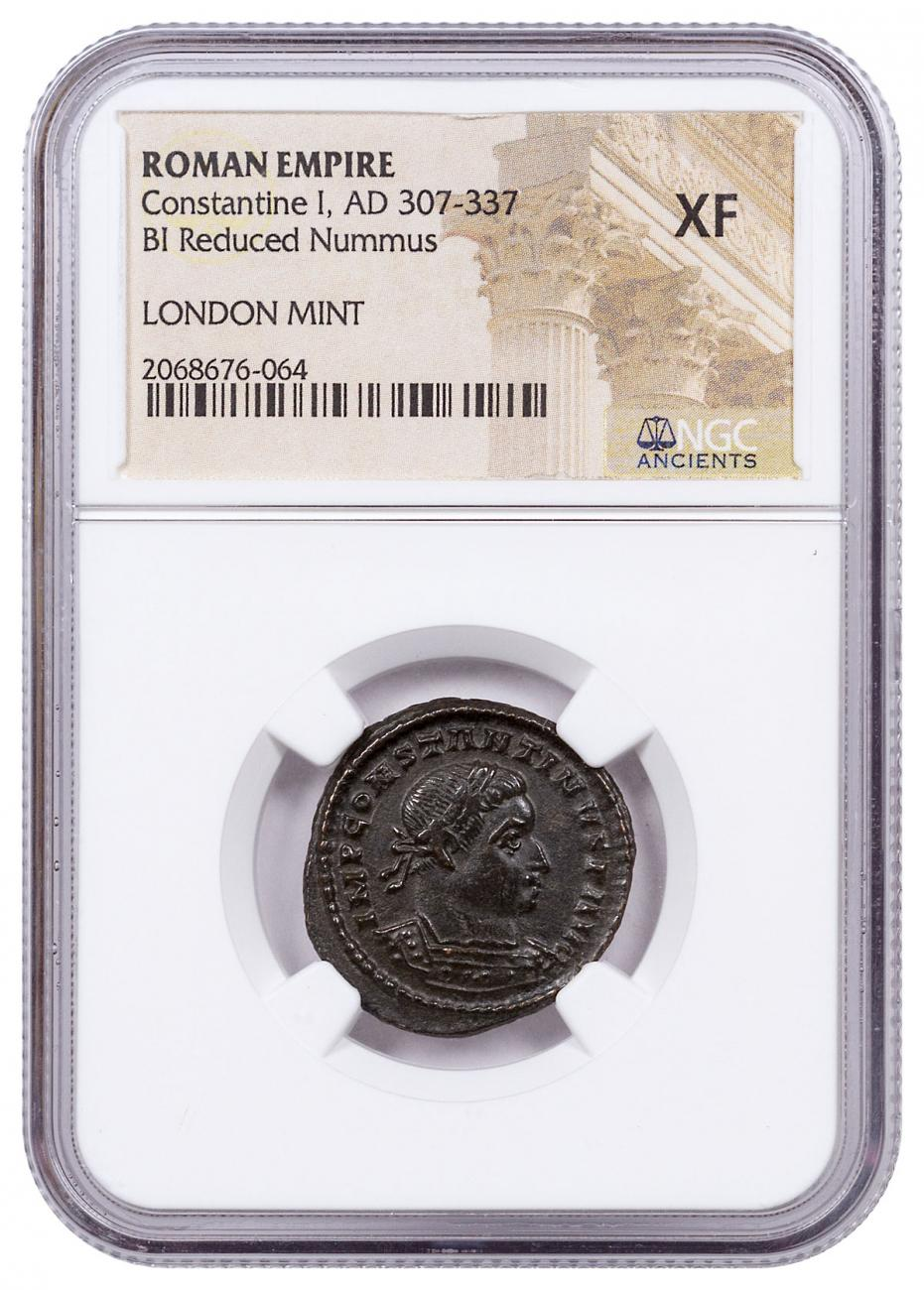 Roman Empire, Billon Nummus of Constantine I (AD 307-337) - London Mint - NGC XF