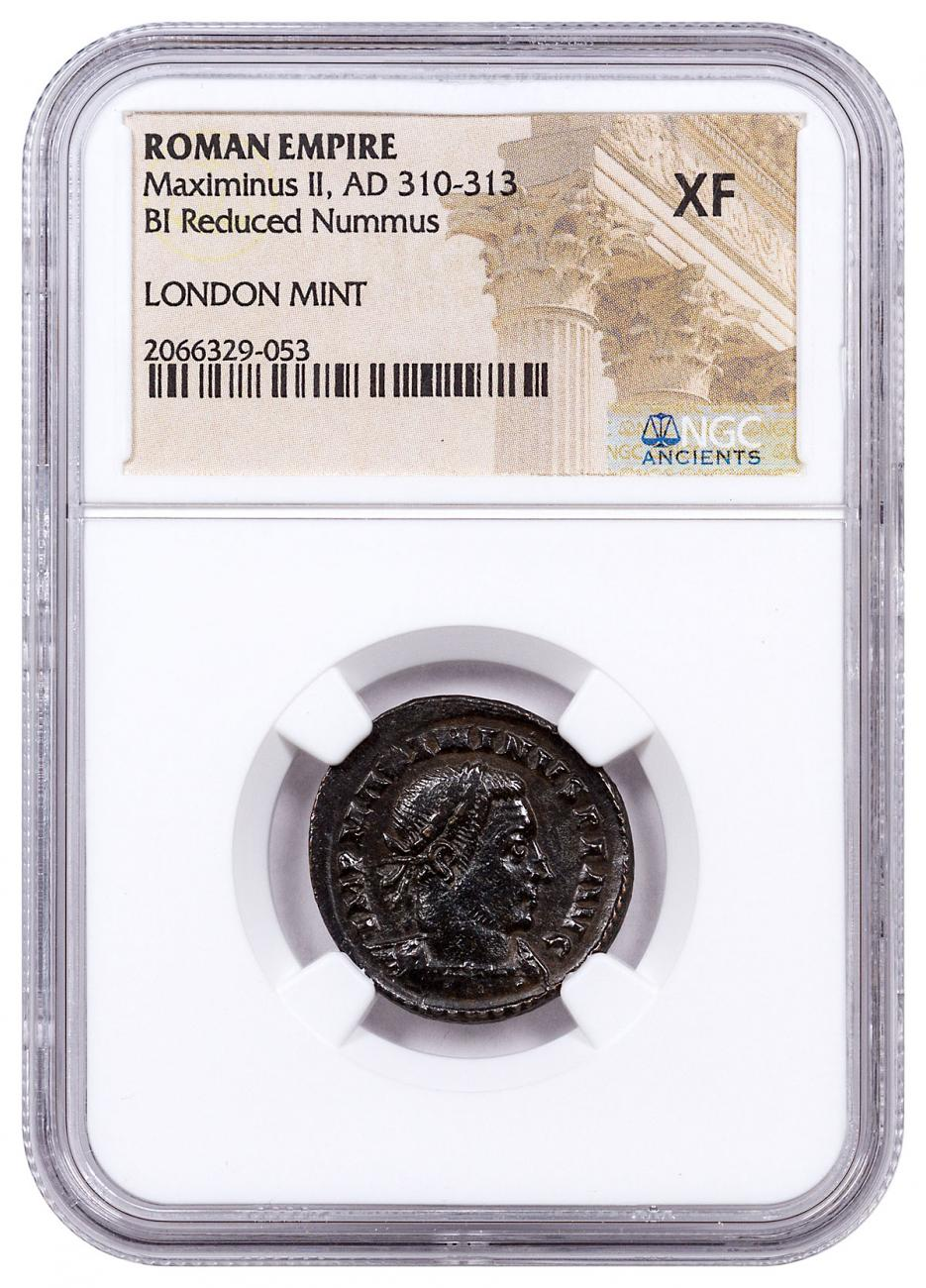 Roman Empire, Billon Nummus of Maximinus II (AD 311-313) - London Mint - NGC XF