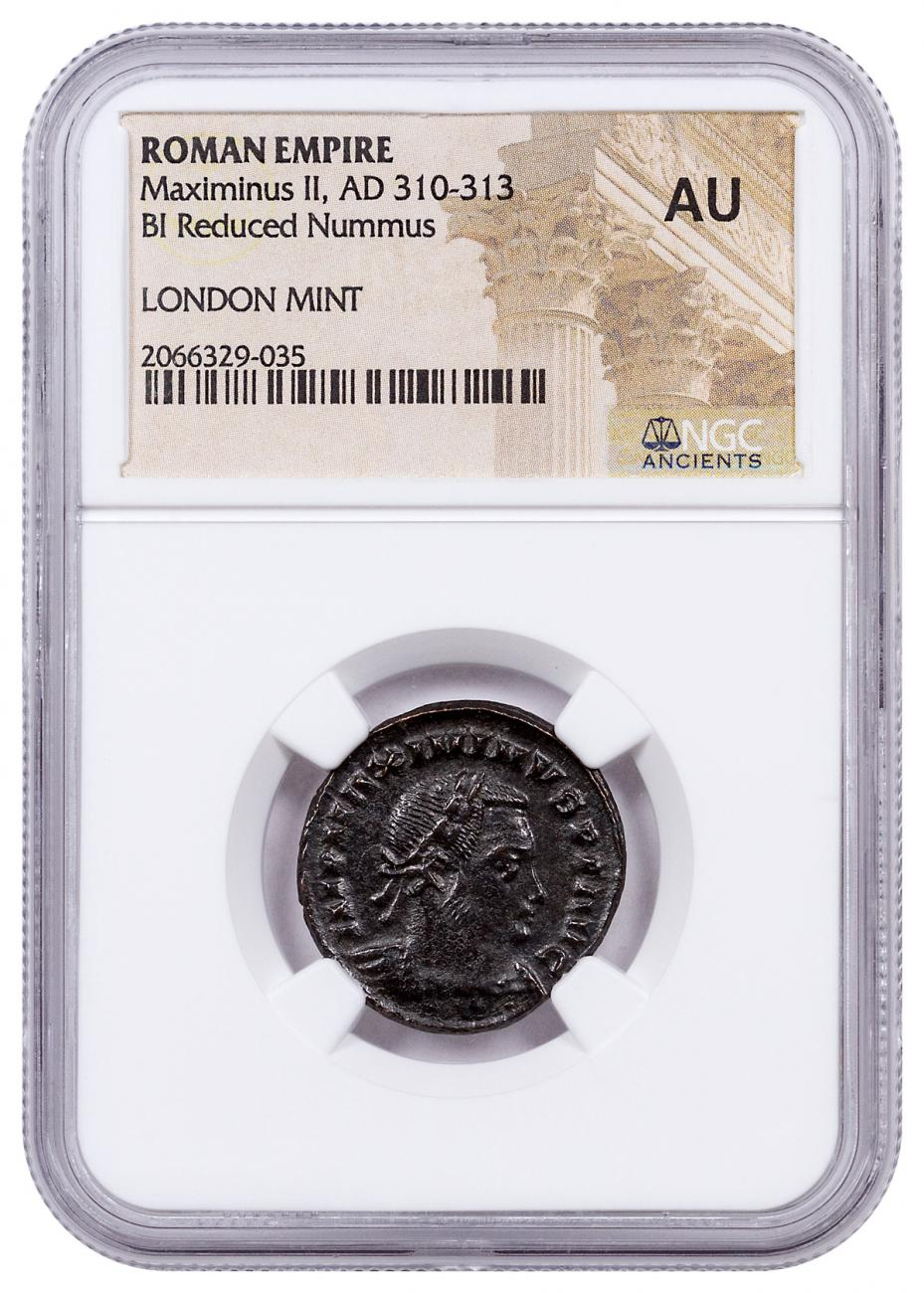 Roman Empire, Billon Nummus of Maximinus II (AD 311-313) - London Mint - NGC AU