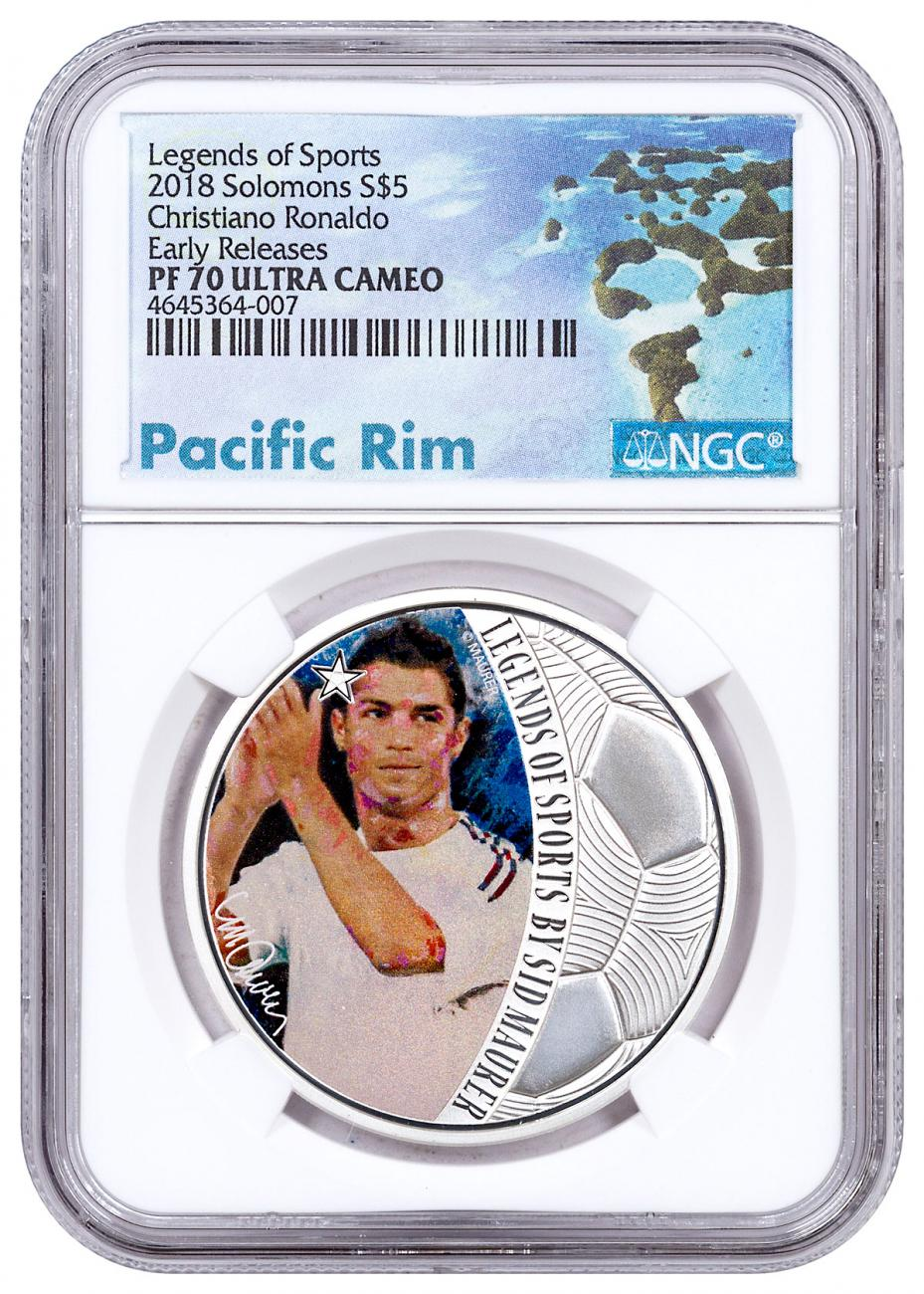 2018 Solomon Islands Legends of Sports - Cristiano Ronaldo Soccer 1 oz Silver Colorized Proof $5 Coin NGC PF70 UC ER Exclusive Pacific Rim Label