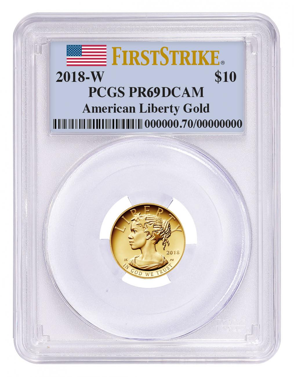 2018-W 1/10 oz Gold American Liberty Proof $10 PCGS PR69 DCAM FS Flag Label