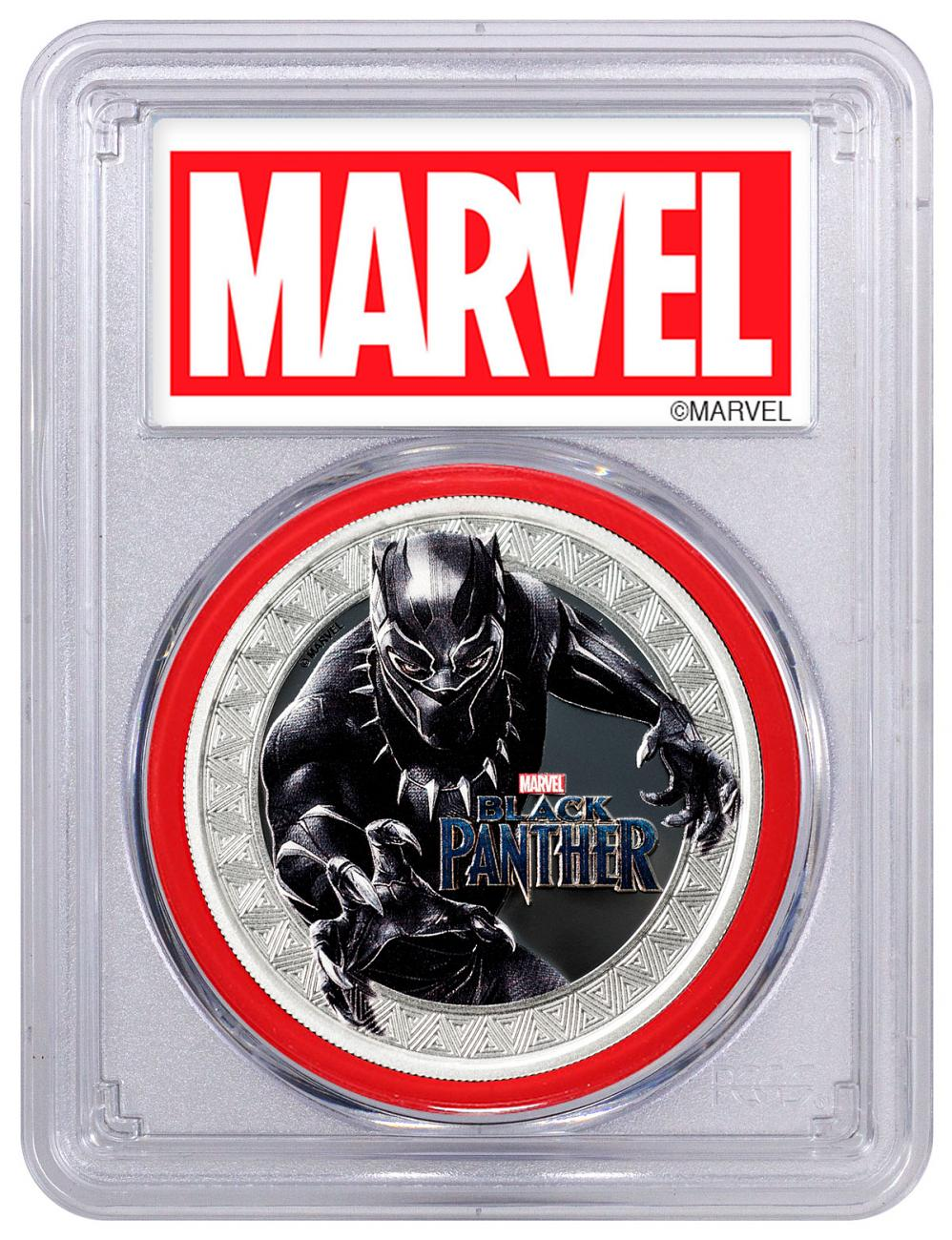 2018 Tuvalu Marvel Series - Black Panther 1 oz Silver Colorized Proof $1 Coin PCGS PR69 DCAM FS Red Gasket Exclusive Marvel Label