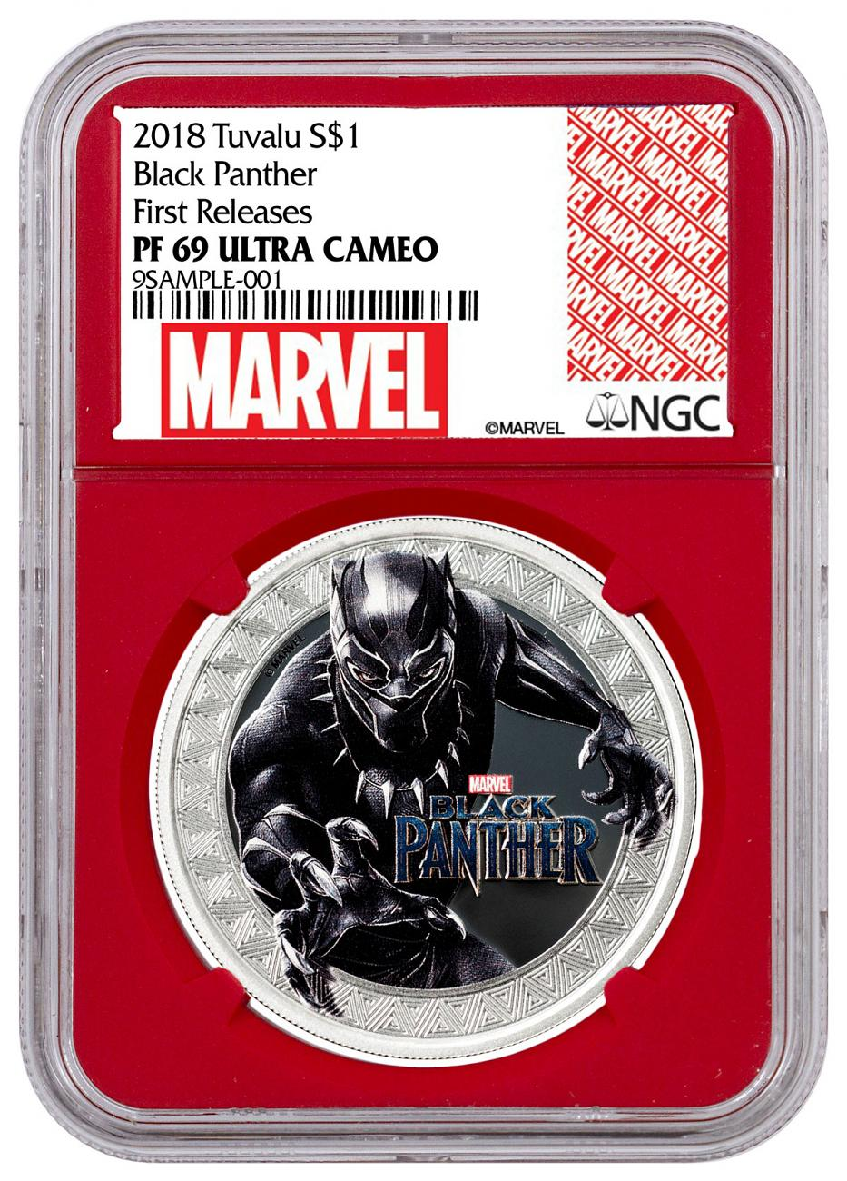 2018 Tuvalu Marvel Series - Black Panther 1 oz Silver Colorized Proof $1 Coin NGC PF69 UC FR Red Core Holder Exclusive Marvel Label