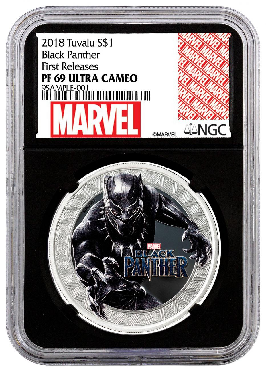 2018 Tuvalu Marvel Series - Black Panther 1 oz Silver Colorized Proof $1 Coin NGC PF69 UC FR Black Core Holder Exclusive Marvel Label