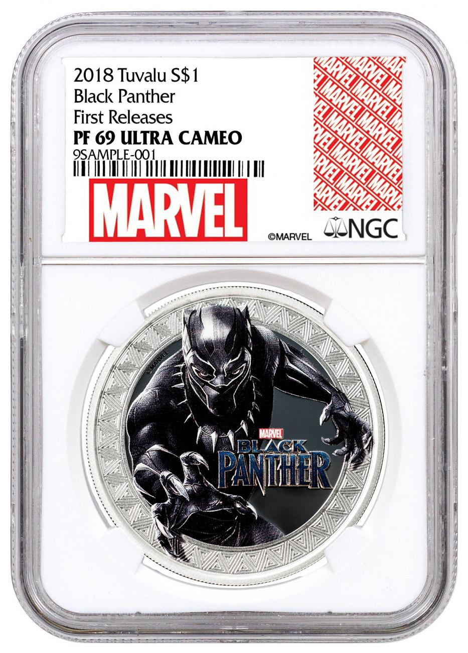 2018 Tuvalu Marvel Series - Black Panther 1 oz Silver Colorized Proof $1 Coin NGC PF69 UC FR Exclusive Marvel Label