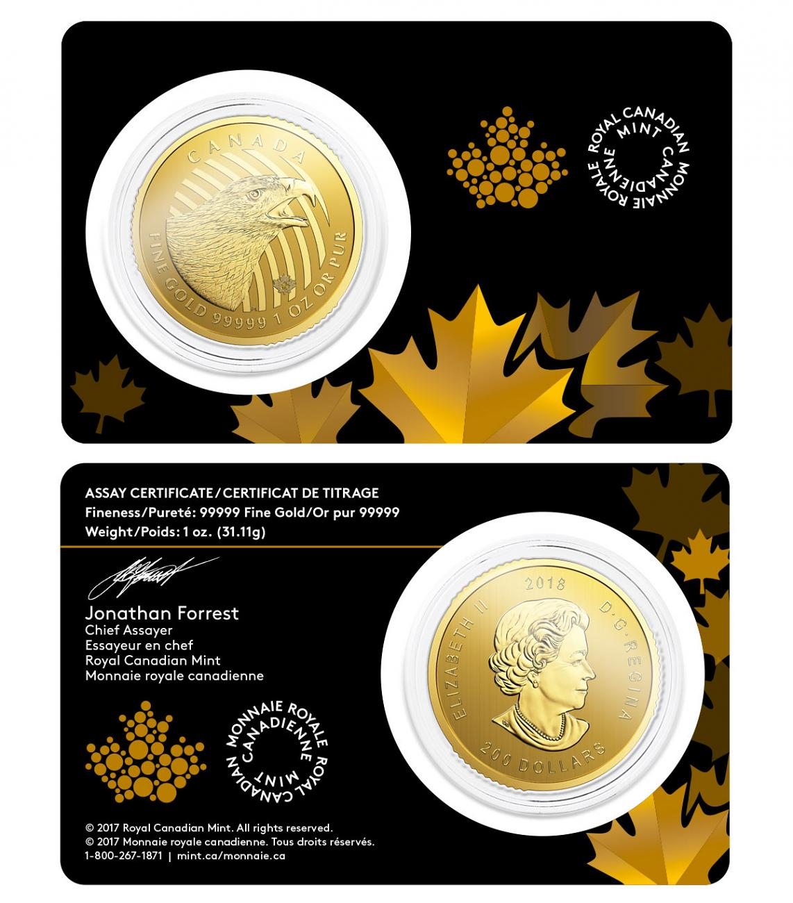 2018 Canada Call of the Wild - Golden Eagle 1 oz Gold $200 Coin GEM BU Original Mint Capsule