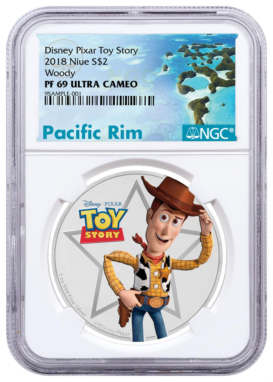 2018 Niue Disney Toy Story - Woody 1 oz Silver Colorized Proof $2 Coin NGC PF69 UC Exclusive Pacific Rim Label