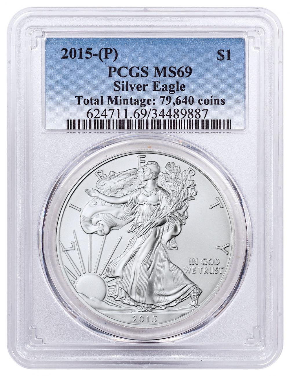 2015-(P) Silver Eagle Struck at Philadelphia One of 79,640 Struck PCGS MS69
