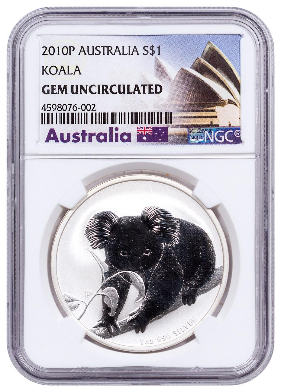 2010-P Australia 1 oz Silver Koala $1 NGC GEM Uncirculated Exclusive Australia Label