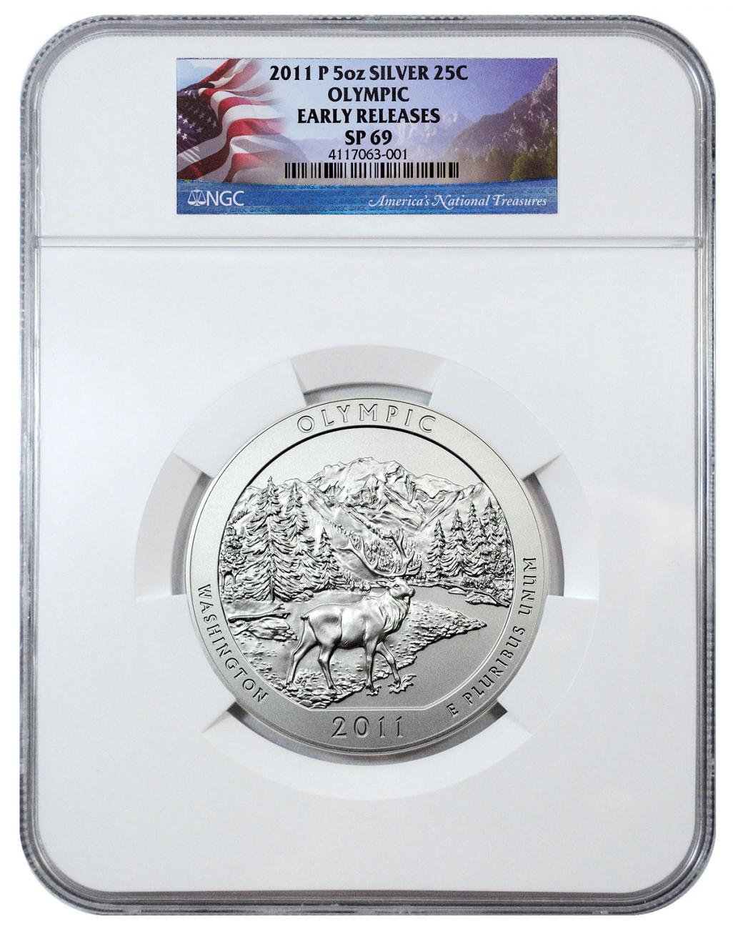 2011-P Olympic 5 oz. Silver America the Beautiful Specimen Coin NGC SP69 ER Flag Label