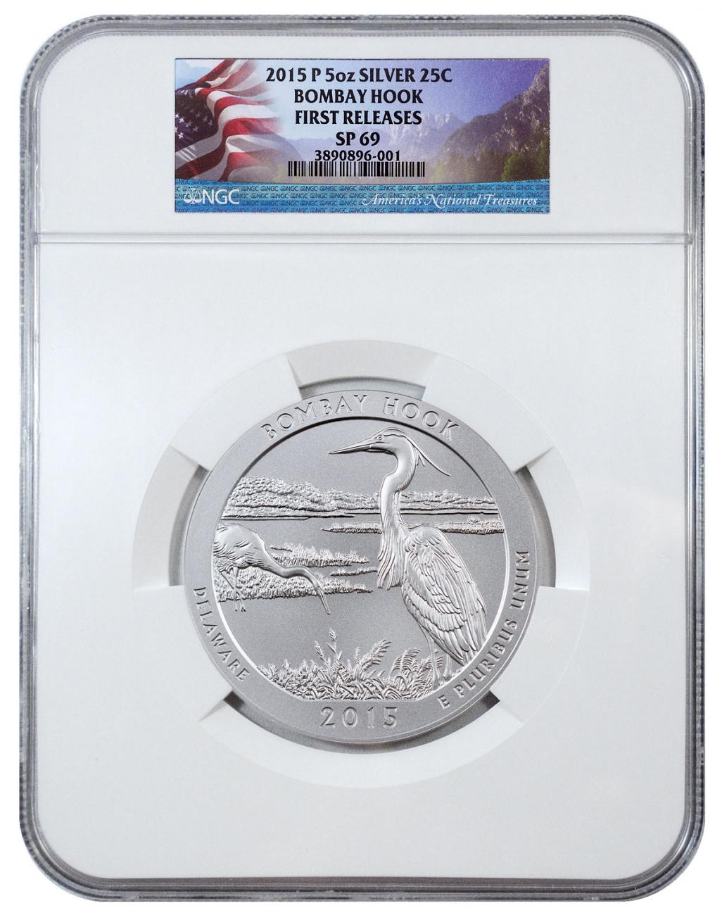 2015-P Bombay Hook 5 oz. Silver America the Beautiful Specimen Coin NGC SP69 FR Flag Label