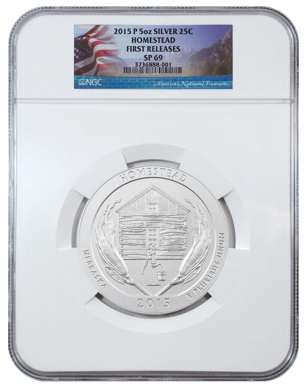 2015-P Homestead 5 oz. Silver America the Beautiful Specimen Coin NGC SP69 FR Flag Label