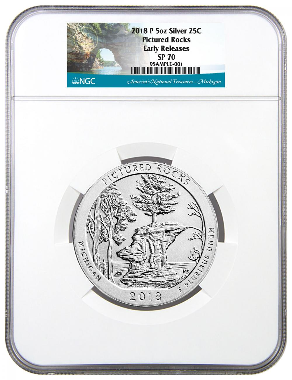 2018-P Pictured Rocks 5 oz. Silver America the Beautiful Specimen Coin NGC SP70 ER