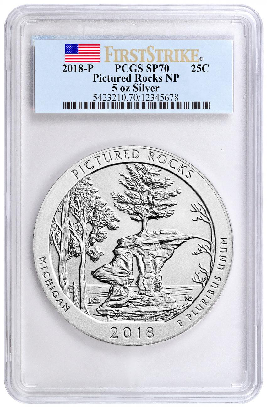 2018 Pictured Rocks 5 oz. Silver America the Beautiful Specimen Coin PCGS SP70 FS Flag Label