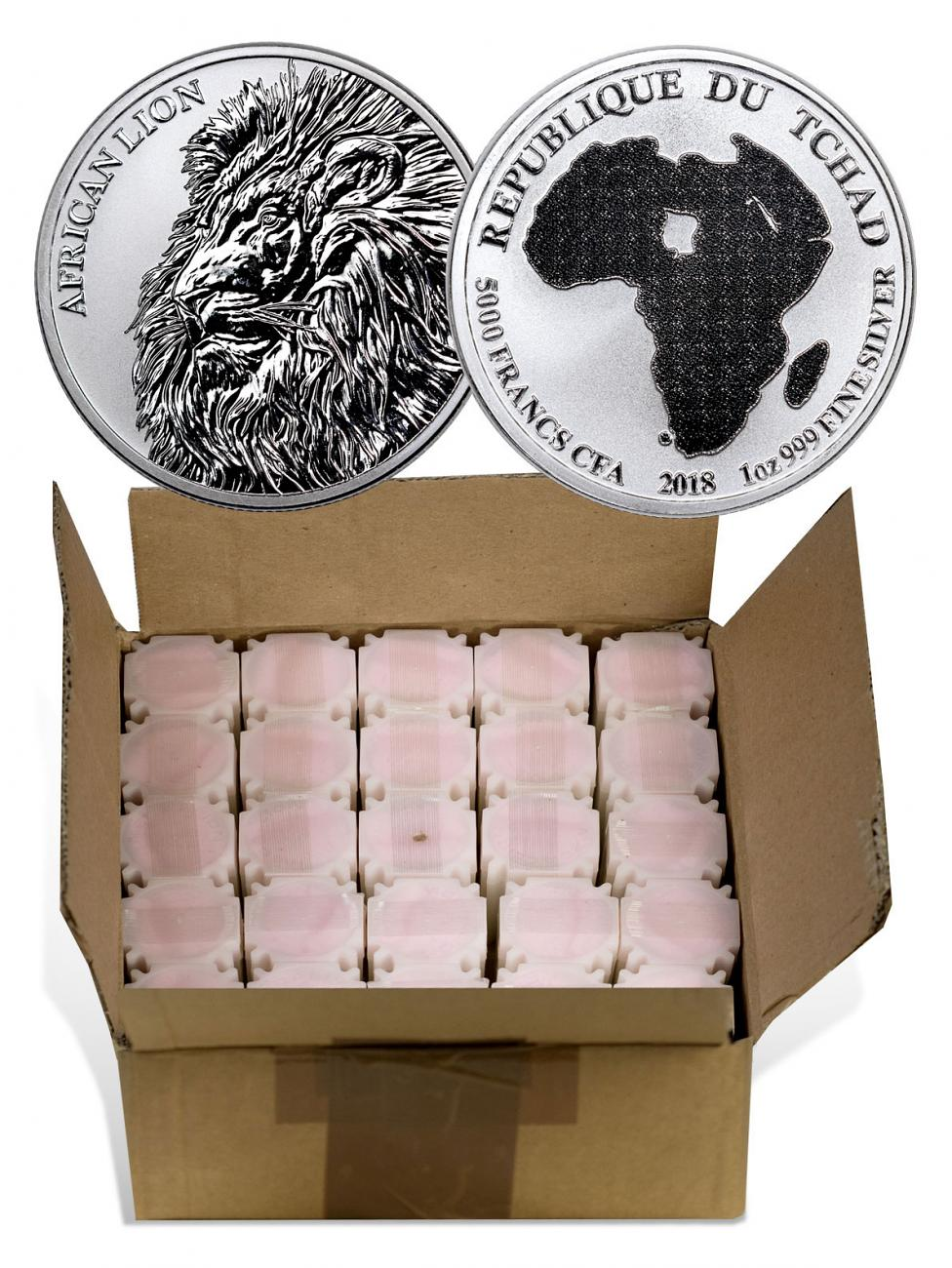 Monster Box of 500 - 2018 Republic of Chad African Lion 1 oz Silver Fr5,000 Coins GEM BU