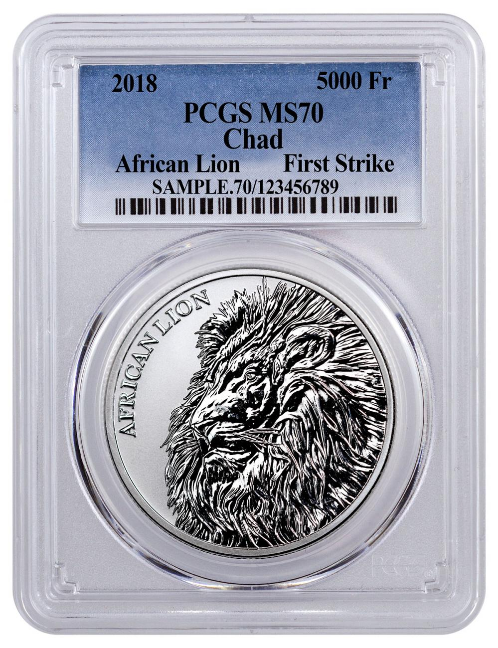 2018 Republic of Chad African Lion 1 oz Silver Fr5,000 Coin PCGS MS70 FS