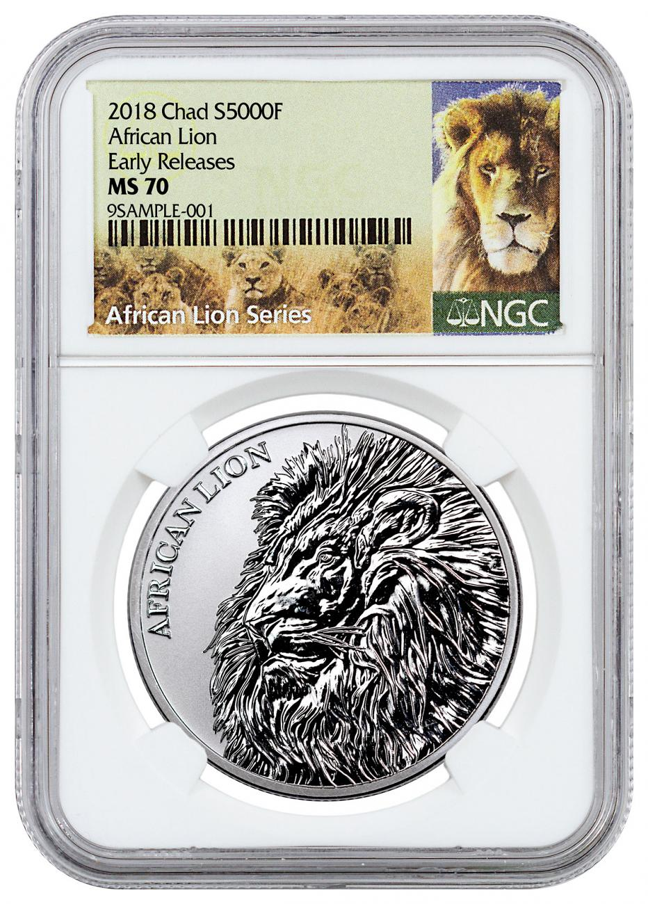 2018 Republic of Chad African Lion 1 oz Silver Fr5,000 Coin NGC MS70 ER Exclusive Lion Label