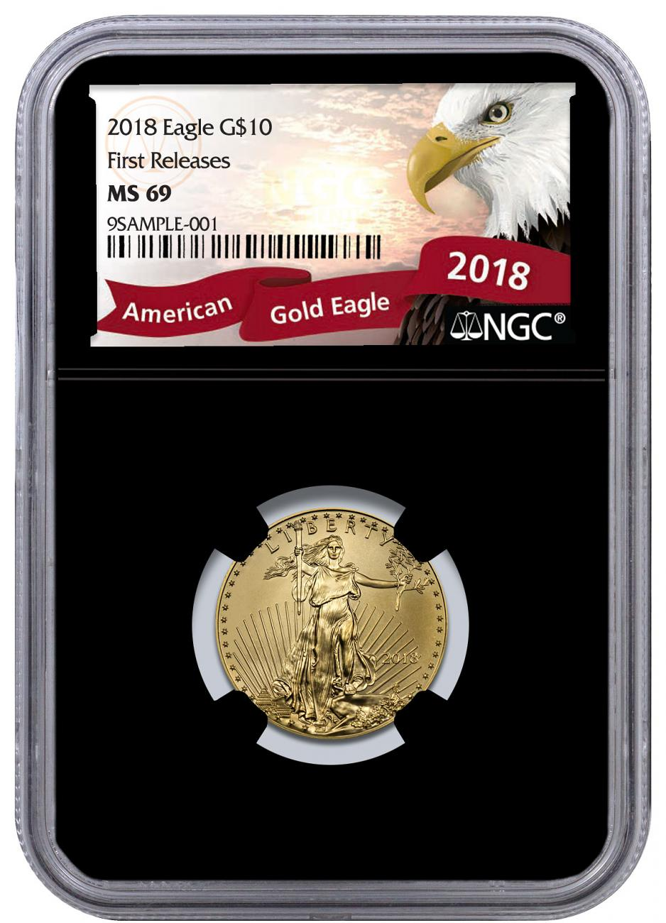 2018 1/4 oz Gold American Eagle $10 NGC MS69 FR Black Core Holder Exclusive Eagle Label