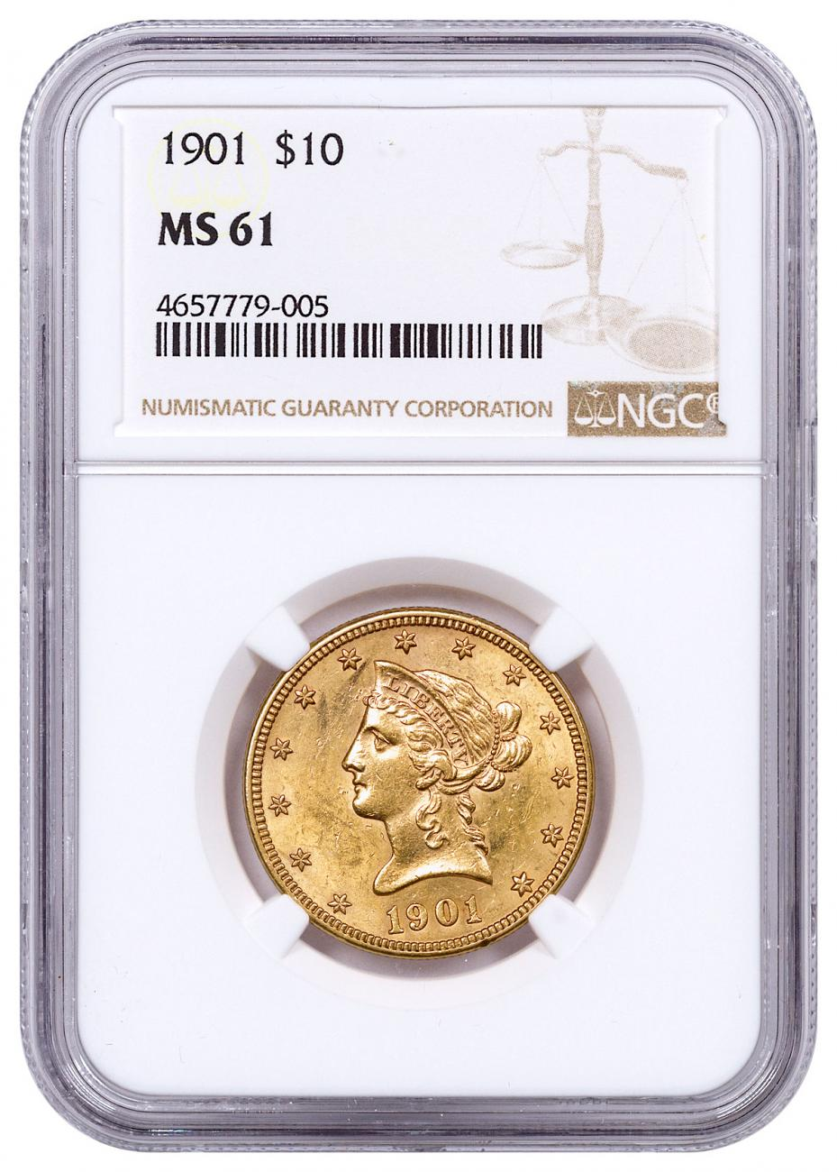 1901 Liberty Head $10 Gold Eagles NGC MS61