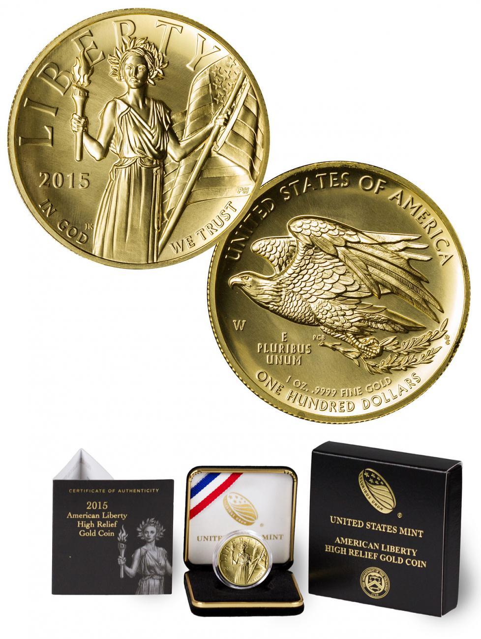2015-W American Liberty Gold High Relief $100 GEM BU OGP