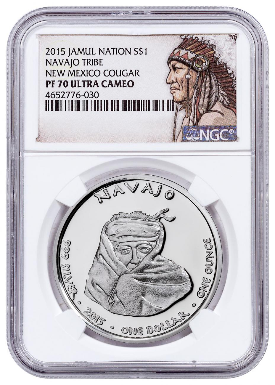 2015 Native American Silver Dollar - New Mexican Navajo - Cougar 1 oz Silver Proof Coin NGC PF70 UC Native American Label