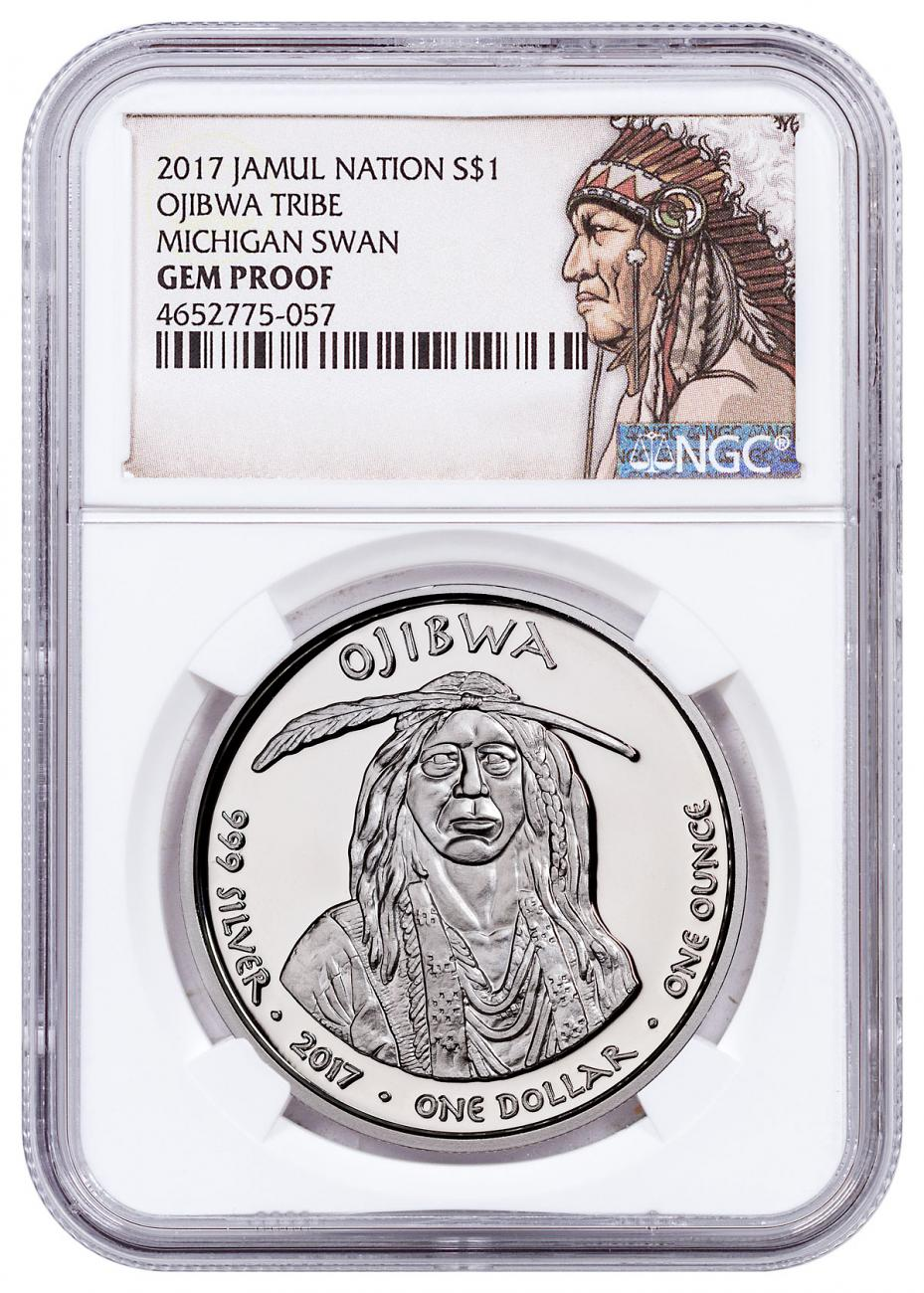 2017 Native American Silver Dollar - Michigan Ojibwa - Swan 1 oz Silver Proof Coin NGC GEM Proof Native American Label