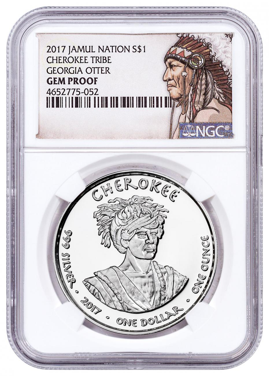 2017 Native American Silver Dollar - Georgia Cherokee - Otter 1 oz Silver Proof Coin NGC GEM Proof Native American Label