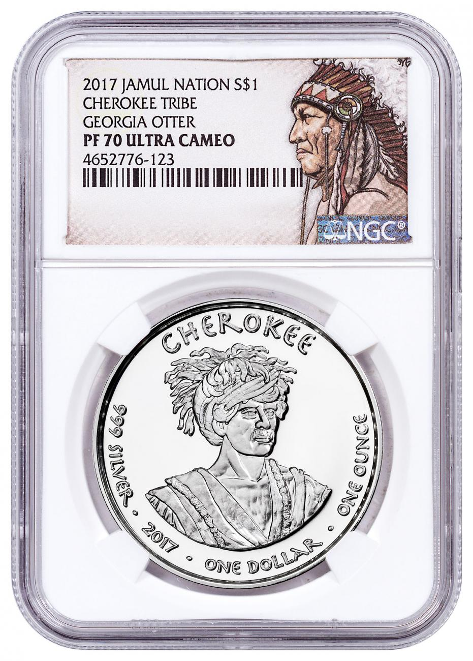 2017 Native American Silver Dollar - Georgia Cherokee - Otter 1 oz Silver Proof Coin NGC PF70 UC Native American Label